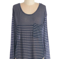ModCloth Nautical Mid-length Long Sleeve Train of Events Top