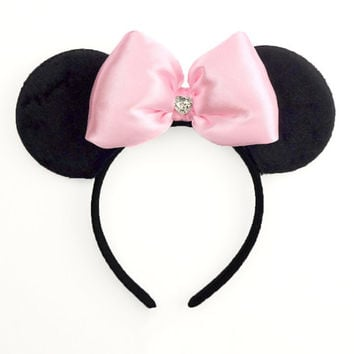 Minnie Mouse Ears Mickey Mouse Ears Pink Minnie Ears Mickey Ears Headband Minnie Mouse Bow Poofy Cute Minnie Mouse Outfit Minnie Bow Sparkle