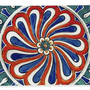 An Ottoman Iznik Style Floral Design Pottery Polychrome, By Adam Asar, No 20a - Bath Towel