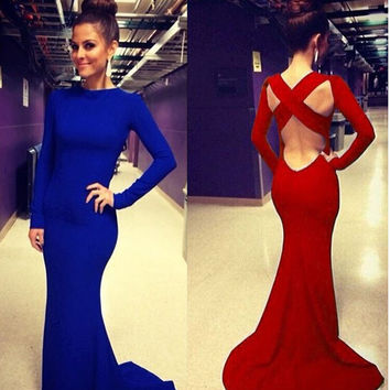 Sexy Women's Long Sleeve Bandage Dress Formal Party Floor-Length Open Back Cross O-neck Long Maxi Dress