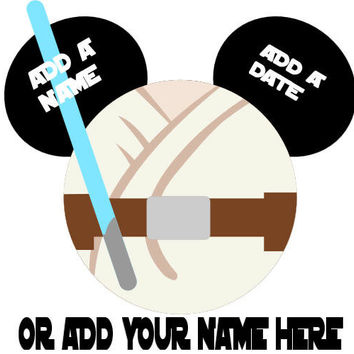 Star Wars Luke Skywalker Personalized w/ Name/Date Mickey Mouse Head Disney Vacation Birthday Printable Iron On Transfer DIY Clipart