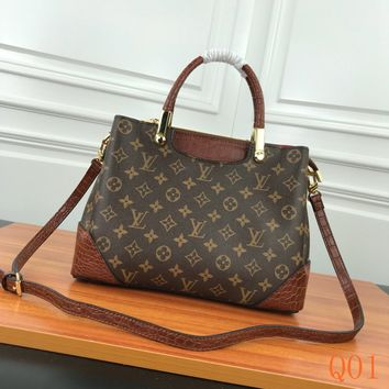 HCXX 19Aug 057 M43589 Louis Vuitton LV Monogram Vernis Printting Carpet Bag Large-capacity Tote Bag 31-23-13 Brown