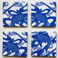 $15.00 Ceramic coasters  Traditional Japanese Pattern Blue by mayagencic
