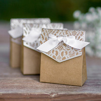 Naturally Vintage Kraft Favor Boxes for Rustic Wedding