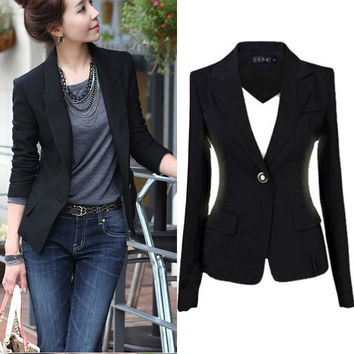 New Women One Button Slim Casual Business Jacket Coat Outwear Blazer Short Suit