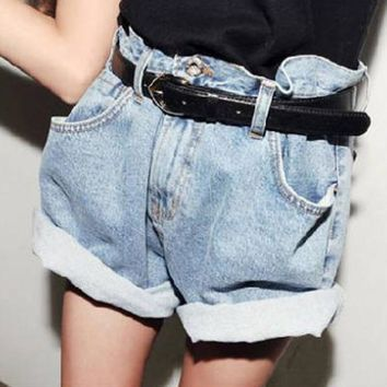 Free Shipping 2015 Spring Summer women's girl's Europe and America Korean Fashion high Waist  Women loose Denim Shorts Jeans
