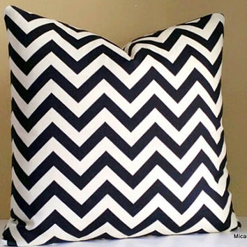 Black and Ivory Outdoor Pillow Cover, 18x18, Fabric both sides