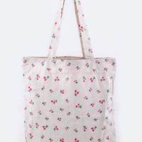 Cherry Print Fashion Tote Bag. Very Cute Fruit Tote. Canvas Tote.