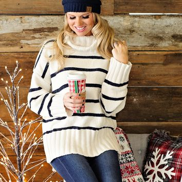 * Cozy Mornings Chenille Striped Sweater: Ivory/Charcoal