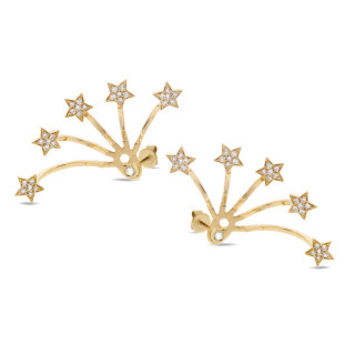 0.27ct 14k Yellow Gold Diamond Star Ear Jacket Earring with Studs