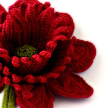 Crochet Brooch Fiber Brooch Red Rose Pin Irish Crochet Brooch Crochet Flower Pin Crochet Flower Brooch
