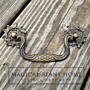 French Country Dresser Pulls Victorian Furniture Pulls KBC Drop Bail Pulls Vintage Brass Drawer Pulls Antique Gold Drawer Pulls & Rosettes