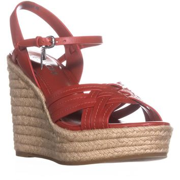 Coach Dottie Strappy Ankle Strap Wedge Sandals , Beechwood, 7.5 US / 37.5 EU
