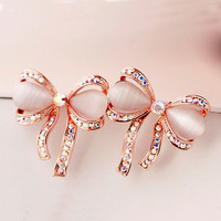 Glamorous Bow Opal and Rhinestone Earrings - LilyFair Jewelry