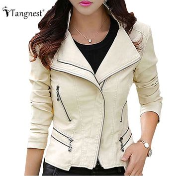 TANGNEST Plus Size M-5XL Fashion Women Leather Coat Female Slim Rivet Leather Jacket Women's Outerwear WWP108