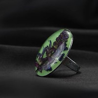 Seal ring with real field flower handmade women`s original jewelry unique design
