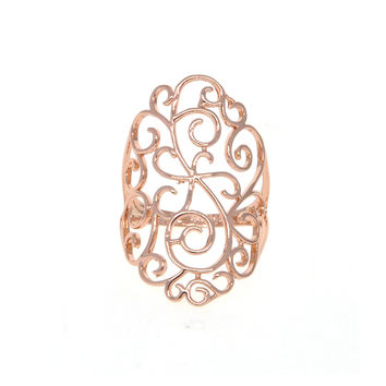 Dear Deer Rose Gold Plated Floral Filigree Cocktail Ring