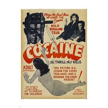 1935 revealing bold COCAINE - THE PACE THAT KILLS movie poster LESSON 24X36