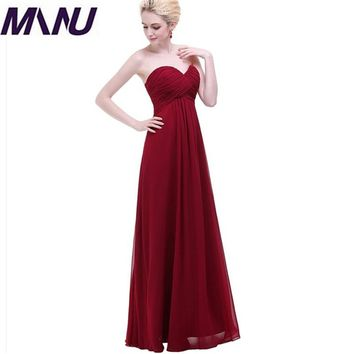 WBCTW Dresses 7XL Plus Size Wine Red Solid Maxi Long Strapless Vintage Woman Dress Summer A-Line Chiffon Elegant Party dress