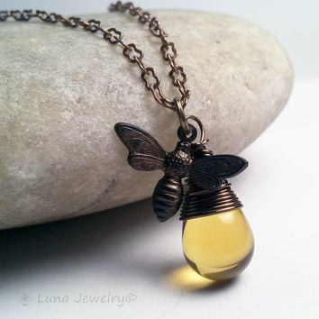 Small Honey Bee Jewelry Wire Wrapped Antiqued Brass Pendant