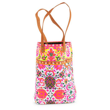 Neon Floral Tote- Pink