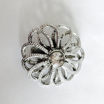 Signed House of Stern Vintage 1950's Cutwork Brooch with Large Center Rhinestone, Mad Men Jewelry, Flower Design Mid Century Pin