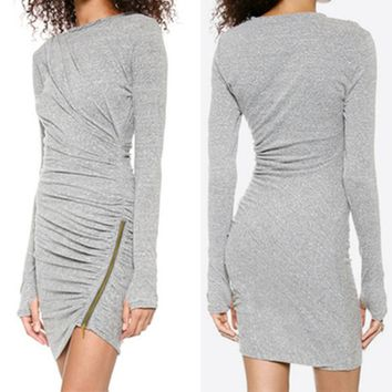 Grey Side Zip Bodycon Dress