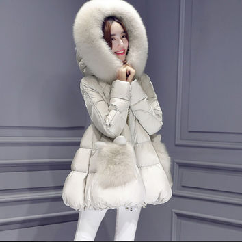 Women's Winter Coats & Jackets 2016 Parka Hooded Jacket Fur Collar Winter Coat Plus size  Zipper Women's Outerwear GT-1-117-A