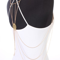 Gold High Polish Centered Back Accent Layered Cascading Body Chain