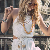 Twiggy Crochet Crop - Ivory