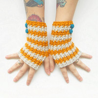 Striped Wrist Warmers in Natural and Mustard with Teal Buttons, ready to ship.
