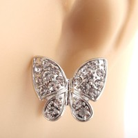 Ladies Iced Out Silver .85 Inch Butterfly Stud Earrings | AihaZone Store