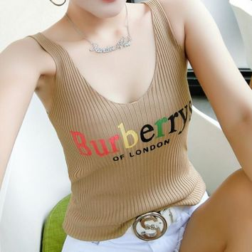 """Burberry"" Summer Popular Women Sexy Letter Print Sleeveless V Collar Knit Vest Top Apricot I13433-1"