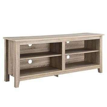 "58"" Natural Wood TV Stand Console"