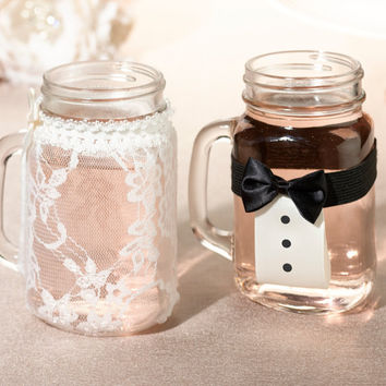 Mason Jar Lace Decor - Bride and Groom Drink Glass Covers (Set of 2)