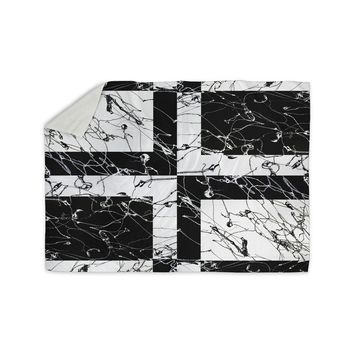"Nina May ""Ska Splatter"" Black White Mixed Media Sherpa Blanket"