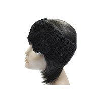 Black Flower Knit Headband