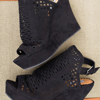 You Don't Belong Cut Out Suede Wedges In Black