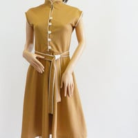1960s Beige Belted Dress with White Piping, Mandarin Collar by Montgomery Ward