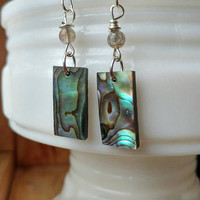 Abalone and Labradorite Drop Earrings - Dangle Earrings - Beach Earrings - Shell Earrings - Beach Jewelry - Natural Jewelry
