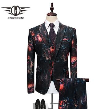 Men Suits Slim Fit Men Floral Print Suit 3 Piece Wedding Tuxedo Suits For Men Luxury Party Prom Wear