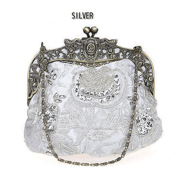 Silver Clutch- Beaded silk purse –wedding clutch purse-evening bag-hand made