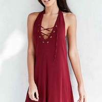 Ecote Lace-Up Halter Mini Dress