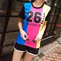 ONETOW Adidas' Women Sport Casual Multicolor Letter Numeral Print Short Sleeve Shorts Set Two-Piece Sportswear