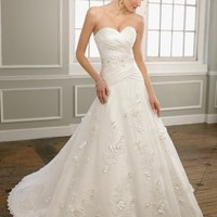 A-line Sweetheart Embroidery Lace Sweep Train Bridal Gown at Dresseshop