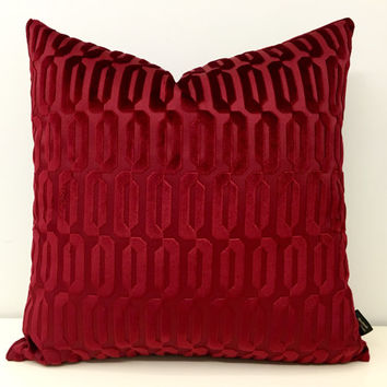 Red Velvet Pillow Cover, Red Pillow, Velvet Pillow, Cushion Covers, Upholstery Red Velvet Fabric, Red Decorative Velvet Couch Throw Pillows