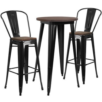 """24"""" Round Metal Bar Table Set with Wood Top and 2 Stools"""