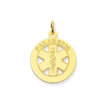 14k Yellow Gold Paramedic Medical Disk Charm, 19mm