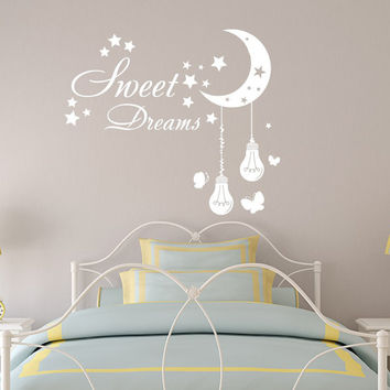 Sweet Dreams Wall Decal Nursery Moon Decal Stars Vinyl Sticker Lights Bulb Home Decor Dorm Bedroom Art T57