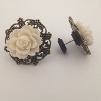 White rose antique bronze earrings Wedding bridal party gift